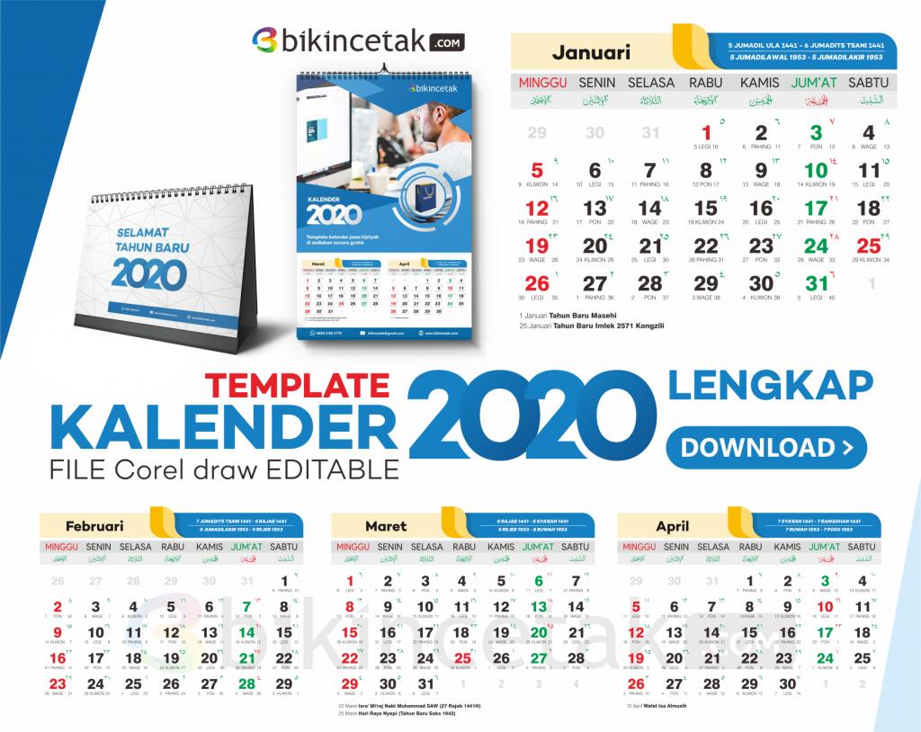 download template kalender 2020 vektor