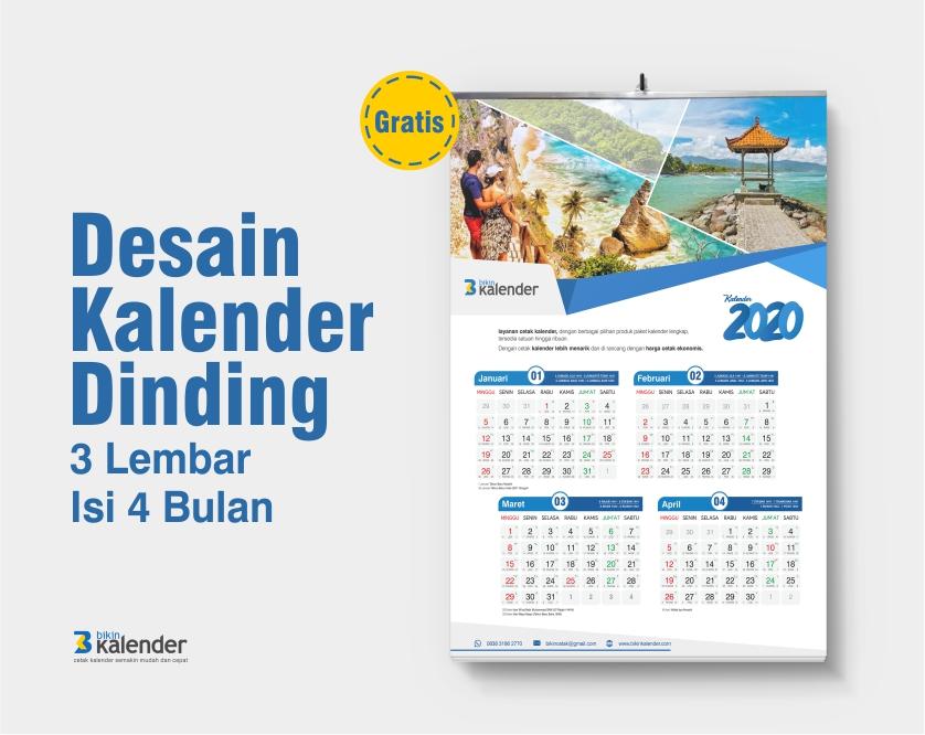 desain kalender dinding 2020 isi 4 bulan