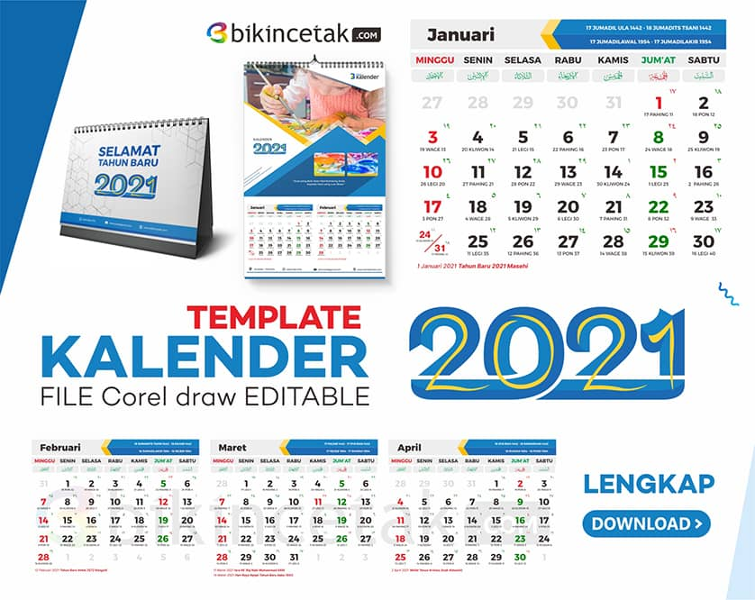 download template kalender 2021 vektor cdr